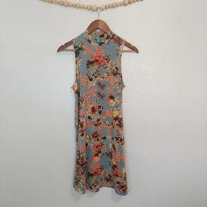 Nostalgia floral high neck sleeveless dress